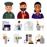 Hotel workers personal professional service man and woman job uniform objects hostel manager vector illustration. Receptionist travel tourism household tools Royalty Free Stock Photo