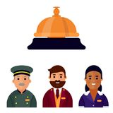 Hotel workers personal professional service man and woman job uniform objects hostel manager vector illustration. Receptionist travel tourism household tools Stock Photos