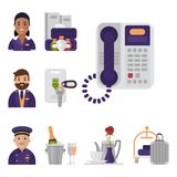 Hotel workers personal professional service man and woman job uniform objects hostel manager vector illustration. Receptionist travel tourism household tools Stock Photography