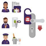 Hotel workers personal professional service man and woman job uniform objects hostel manager vector illustration. Receptionist travel tourism household tools Royalty Free Stock Image
