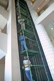 Hotel workers work on five elevator levels in Durban, South Africa Royalty Free Stock Image