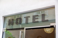 Hotel written in letters on a window Royalty Free Stock Images