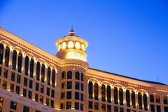 Hotel y casino de Bellagio con la cubierta superior del exterior de la corona imagen de archivo libre de regalías