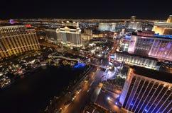 Hotel y casino, la tira, paisaje urbano, ciudad, zona metropolitana, noche de Bellagio foto de archivo