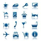 Hotel y conjunto del icono de las vacaciones Fotos de archivo libres de regalías