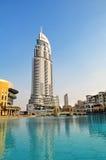 Hotel y lago Burj Dubai, Dubai del direccionamiento foto de archivo libre de regalías