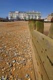 Hotel y playa de Eastbourne Fotografía de archivo libre de regalías