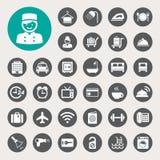 Hotel y sistema del icono del viaje Imagenes de archivo
