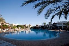 Hotel yard. In Sharm el Sheikh with pool Royalty Free Stock Photos