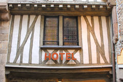Hotel in the yard abbey of Mont Saint Michel. Normandy, France royalty free stock photography