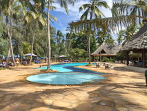 Hotel in Zanzibar. Hotel area in the province of Zanzibar. Pleasure and comfort for travelers royalty free stock photo