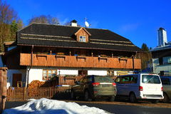 Hotel Zlomená Lyže, Cloudes and trees, winter landscape in Šumava in Železná Ruda, czech republic Stock Photography