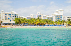 Hotel Zone in Cancun/ Zone Hoteliere Cancun / Beach at hotel Royalty Free Stock Image