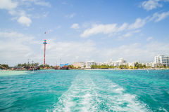 Hotel Zone in Cancun/ Zone Hoteliere Cancun / Beach at hotel Stock Images