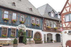 Hotel Zum Krug, Eltville, Germany. Painted half-timber houses and Hotel Zum Krug in Eltville on River Rhine in Germany Stock Photography
