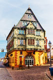 The Hotel Zum Riesen (one of Germany's oldest inns), built 1590 in Miltenberg, Bavaria, Germany. MILTENBERG-GERMANY-MARCH 08, 2015: The Hotel Zum Riesen ( royalty free stock photos