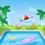 Hotel zwembad met chaise zitkamer en paraplu Vector illustratie De de zomerreis, vakantie en ontspant concept vector illustratie