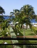Hotelbezit die lagune op St. Marter onder ogen zien Stock Foto
