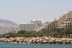 Hoteles de centro turístico en Eilat Fotografía de archivo libre de regalías
