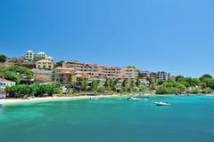 Hoteles en la isla del St Joan Foto de archivo libre de regalías