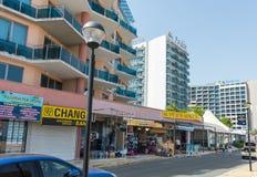 Hoteles en la orilla del mar en Sunny Beach en Bulgaria Fotos de archivo libres de regalías