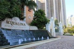 Hoteles frente al mar en la calle principal de Miami, la Florida, verano, 2013 Foto de archivo libre de regalías