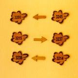 Hotelführerzeichen auf einer gelben Wand Stockfotos