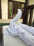 Hotelhanddoek Art Animal Swan stock afbeelding