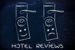 Hoteli/lów przeglądy: szczęśliwa i smutna twarz Fotografia Royalty Free