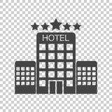 Hotelikone auf lokalisiertem Hintergrund Einfaches flaches Piktogramm für Bus Stockbilder