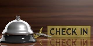 Hotelklok en sleutels op een ontvangstbureau 3D Illustratie vector illustratie