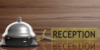 Hotelklok en sleutels op een ontvangstbureau 3D Illustratie royalty-vrije illustratie