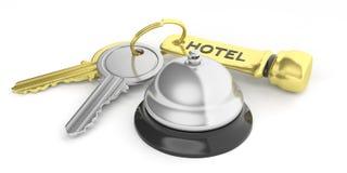 Hotelklok en sleutels op witte achtergrond 3D Illustratie stock illustratie