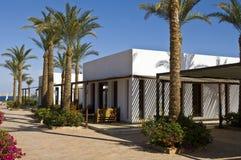 Hotelkomplex und Palmen Stockbild