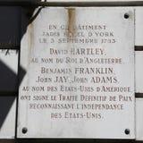 HOTELL D-York, Paris Frankrike - i denna byggnad, på September 3, 1783, representanterna av Förenta staterna och konungen av enge Arkivfoto