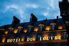 Hotell du Louvre i Paris, Frankrike Arkivbilder