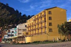 Hotell Estelar del Titicaca i Copacabana, Bolivia Arkivbild