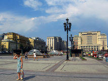 Hotell för fyra säsonger och Manege fyrkant i Moskva Arkivbild