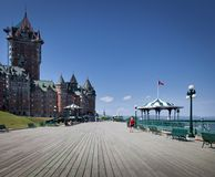Hotell i en stad, ChateauFrontenac hotell, Quebec Arkivfoton