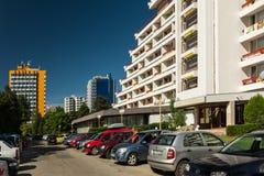Hotell i Olimp feriesemesterort på Blacket Sea Arkivfoto