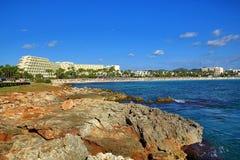 Hotell i Sa-koman, Majorca, Spanien Royaltyfri Fotografi