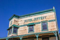 Hotell Jeffery på den huvudsakliga gatan Couterville, Kalifornien Royaltyfri Bild