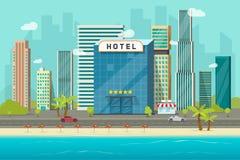 Hotell nära illustration för vektor för havs- eller havsemesterortsikt, plan tecknad filmhotellbyggnad på stranden, gataväg och s vektor illustrationer