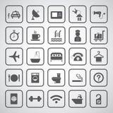 Hotell och loppsymbolsuppsättning Arkivfoton