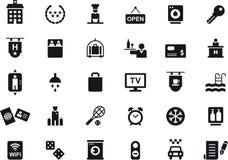 Hotell och loppsymbolsuppsättning Arkivfoto