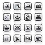 Hotell- och motellsymboler vektor illustrationer