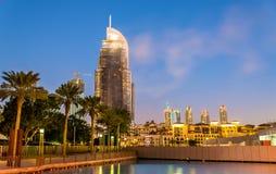 Hotell på brand i Dubai som är i stadens centrum på Januari 1st, 2016 Royaltyfri Foto