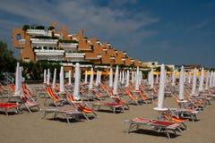 Hotell på stranden i Italien Royaltyfri Fotografi
