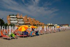 Hotell på stranden i Italien Royaltyfri Bild