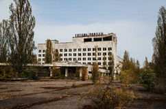Hotell Polissya på den Tjernobyl staden, Ukraina Abadoned stad Royaltyfri Bild